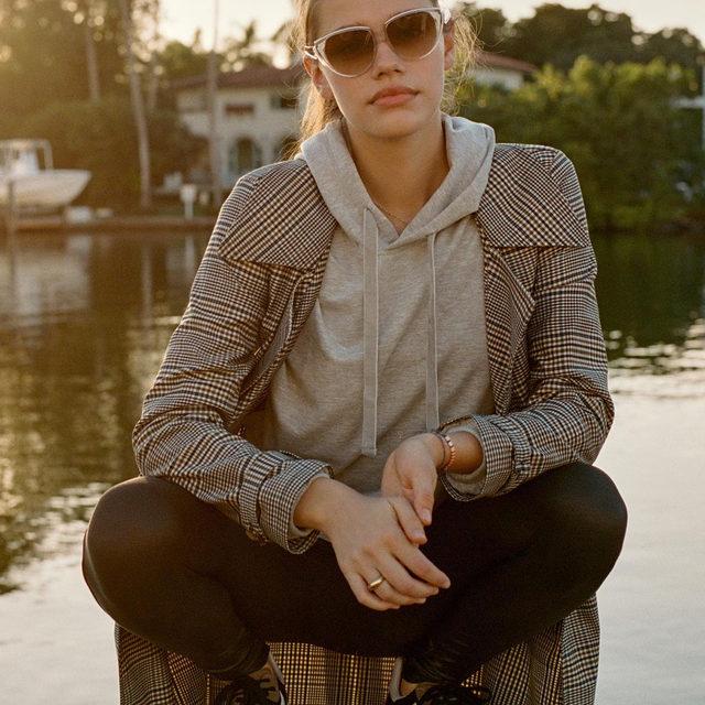 This weekend's uniform: hoodie, blazer, sneaks 👟 (link in profile to shop)