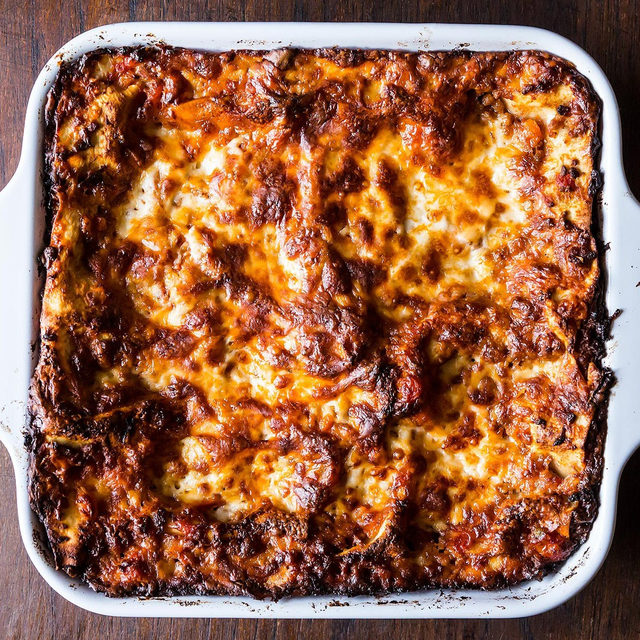 """While this lasagna, from our Co-Founder @merrillstubbs, may technically be called """"Birthday Lasagna"""" we've confirmed with her that it doesn't actually need to be your birthday to enjoy it! We're thankful for that today. For the recipe, which uses bechamel instead of ricotta, head to the link in our bio. 📸: @jamesransom_nyc"""