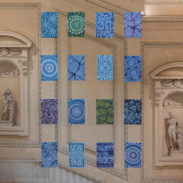 "Alberto Di Fabio's aerial installation, ""I Quanti"" (2019) has been permanently installed in the Palazzo Koch in Rome. Commissioned by Banca d'Italia, the work consists of sixteen paintings on rice paper suspended above the grand staircase. Learn more via the link in our bio.  __________ #AlbertoDiFabio #Gagosian Albert Di Fabio's ""Quanti"" (2019) installed in the Bank of Italy, Palazzo Koch, Rome. Photo: Giorgio Benni"