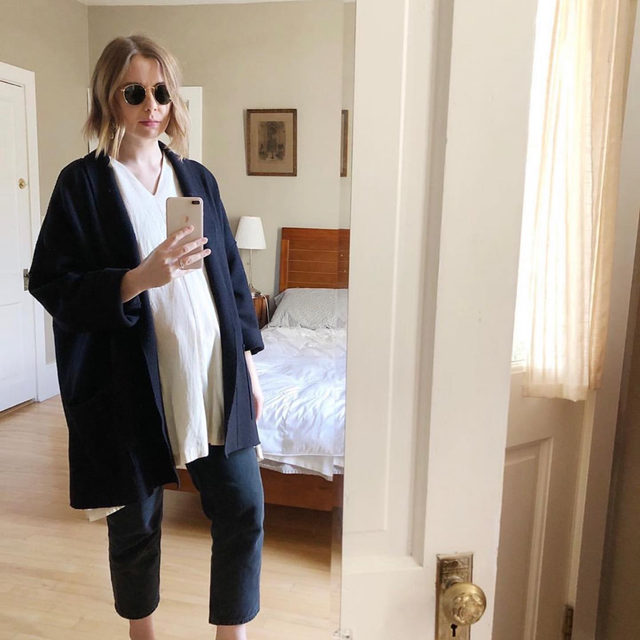 We love @theconstantcloset's pregnancy style: layers and more layers. She's wearing one of our signature boiled wool jackets here. Check out her page for more maternity inspiration and click the link in our bio for some seasonal versions of her jacket!