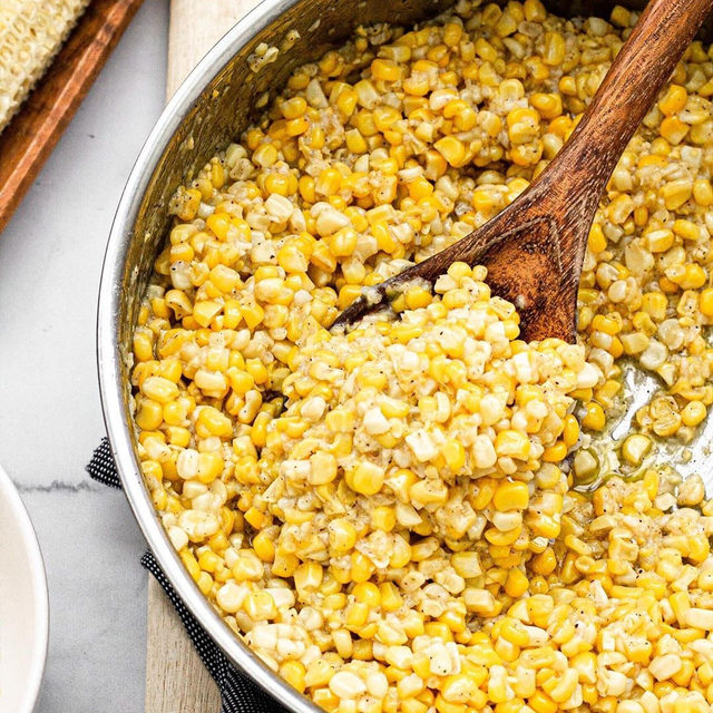 """Traditionally, fried corn is made using its own kernel milk or """"corn milk"""" which is in the lining of the cob—that's where this dish from @alittlefoodblog gets its sweetness and deliciously creamy texture. Once you've seasoned to taste (all you need is salt & pepper), serve it with basically anything you want: seafood, ribs, hamburgers & hot dogs, crab cakes, you name it. Head to the link in our bio for the recipe and for 28 more vegetarian recipes from the #bhmpotluck curated by @meikoandthedish. #f52grams"""