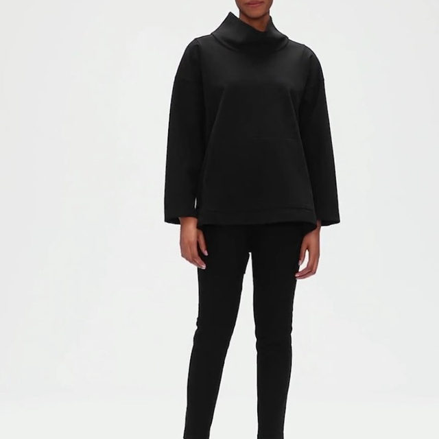 DESIGNER DROPS (2/3): A limited-edition pullover designed by @eileenfisherrenew designer @gamacarmen. It was resewn from four pre-loved rayon and ponte garments collected through our take-back program. Shop this style exclusively through our Instagram bio and in select stores (check out our stories for more behind the scenes!). #EFDesignerDrops