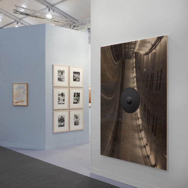 "#FriezeArtFair: Adam McEwen's 2019 piece, ""Sudden Vision,"" is currently on view in Gagosian's booth at Frieze Los Angeles.  This new work combines McEwen's series of inkjet prints on cellulose sponge with his sculptural graphite works. Here a life-size graphite drum cymbal is fixed to the surface of an image of a tunnel, which has been turned on its side.  Titled ""How to Shrink L.A.,"" the presentation explores the transformation of car culture from a metaphor for freedom and possibility to a symbol of violence and stagnation. To receive a PDF with detailed information on this work or others in the booth, please contact the gallery at inquire@gagosian.com or via direct message.  __________ #AdamMcEwen #FriezeLA #Gagosian @friezeartfair (1) Installation view, ""Frieze Los Angeles 2020: How to Shrink L.A.,"" booth C06, Frieze Los Angeles, February 14–16, 2020. All artworks copyrighted. Photo: Sebastiano Pellion; (2) Adam McEwen, ""Sudden Vision,"" 2019, inkjet print on cellulose sponge, graphite, 84 x 58 5/8 x 4 1/4"