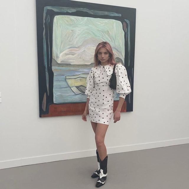 @ganna_bogdan wearing our #SS20 Printed Cotton Mini Dress and high Texas boots @friezeartfair #LA  #GANNIGirls #GANNIDOUBLELOVE