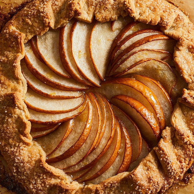 """Asian pear (also known as Korean pear, Japanese pear, Chinese pear, Taiwanese pear, apple pear, zodiac pear, and sand pear) is this galette recipe's secret weapon. @ericjoonho takes a """"less is more"""" approach—a simple dressing of brown sugar, vanilla, lemon juice and zest—to  let the crisp, subtle sweetness of the pear shine through. For this recipe, and for 2 other foolproof desserts, head to the link in bio. 📸: @rockyluten"""