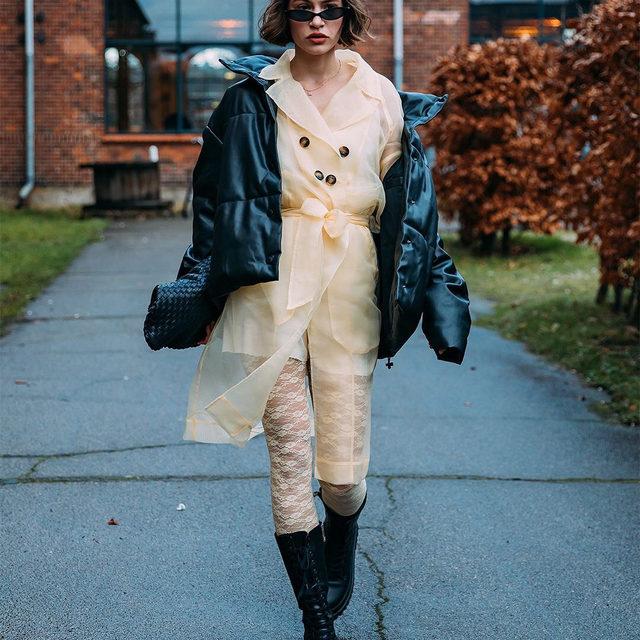 @leleberlin wearing our Devore coat and Lenny lace stockings #BaumFamily 📷: @styledumonde  #BaumDance #BaumundPferdgarten #CPHFW