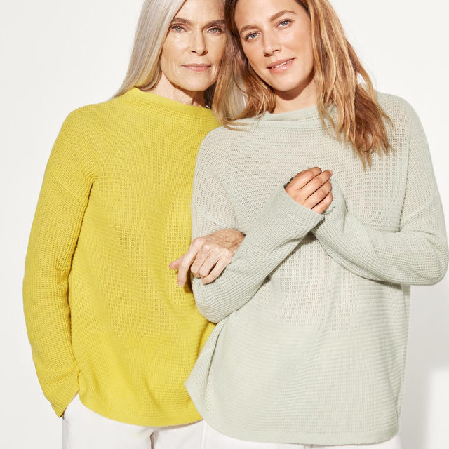 Two of our favorite colors this season: Yarrow and Mist. Shop this Italian Cashmere Funnel Neck Box-Top and other new arrivals now on the site