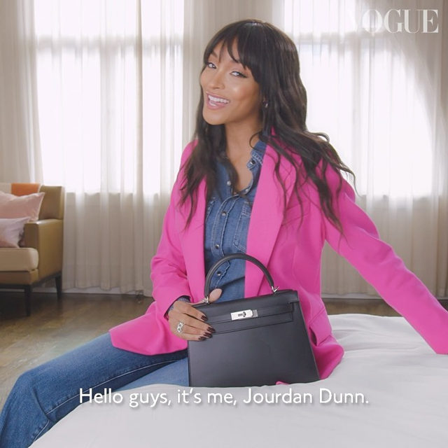 """What does my bag say about me?"" ponders #JourdanDunn. ""That I'm bouji."" The newly-engaged supermodel shared the contents of her @Hermes handbag with #BritishVogue (and confessed to having removed all trace of receipts and rubbish before the cameras started rolling). From her favourite fragrance and lip gloss to the crystal she uses to banish bad energy, watch to discover Dunn's everyday essentials. See the full film now at the link in bio.  Directed by @Kloss_Films, styled by @DenaGia, DoP @GaryBardizbanian and produced by @TheRealMinnieCarver, with hair by @HosHounkpatin, make-up by @ReneeGarnes, nails by @NailsByMarySoul and prop styling by @AliceMartinellli."