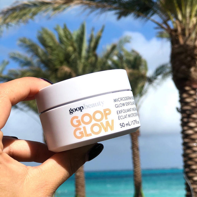 """""""This, people, is a powerful facial in a little jar,"""" says GP. """"My skin is softer, smoother, and more luminous afterward—the results are instantaneous."""" Even if you're not an obsessive exfoliator like GP, we still think you'll fall in ❤️ with #GOOPGLOW Microderm. The trick is to use it two to three times per week: You just massage it onto clean, damp skin and leave it on for up to three minutes. Link in bio to meet this glow getter. ✨"""