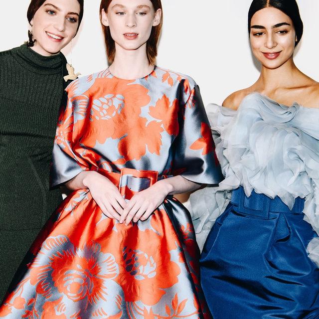 Feminine grandeur from the Carolina Herrera Fall 2020 collection by creative director @wesgordon. Pre-order the pearl embellished ruffled silk blouse and silk faille skirt @modaoperandi #EraofHerrera