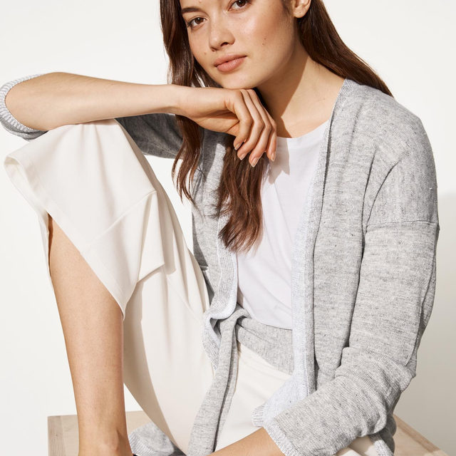 Our go-to layer: A simple cardigan with a slouchy fit and open front, now in an organic linen that supports clean water and healthy soil.
