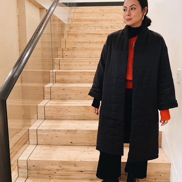 Spotted at HQ: Shana from our Project Management team shows how she styles our Limited Edition Silk Charmeuse Long Coat. Bonus, it's still available and on sale.