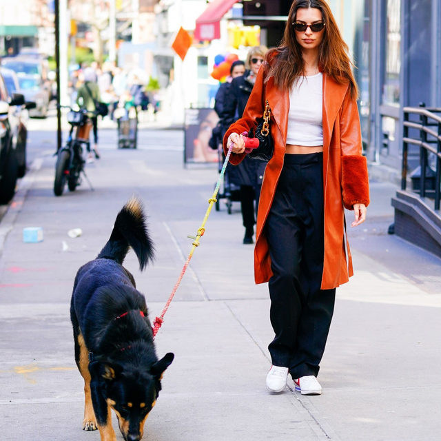 A laid-back outfit for the books. 💯 Tap our link to cop @emrata's surprisingly affordable Nordstrom coat and everything else you need to get her chill look.  photo: getty images