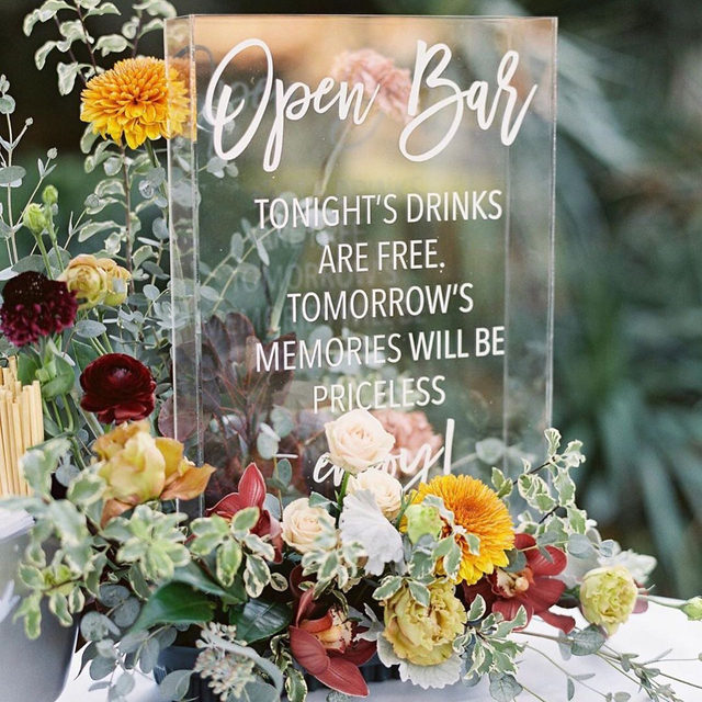 Our favorite words: open bar. 😜The rest aren't so bad either. 💕 Head to the #linkinbio for 25 ways to dress up your wedding bar, because ,trust us, a lot of time will be spent there! | 📸: @spostophoto 📋: @ps_plans 💐: @_florasky 🖊: @simplystatedstationery