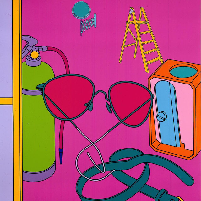 """#GagosianQuarterly: For a recent """"Gagosian Quarterly"""" feature, Michael Craig-Martin speaks with Samuel Gross about his depictions of everyday objects and the building blocks of his visual vocabulary, as part of artgenève's art talks 2020.  Colorful flags by Craig-Martin were installed among the booths of artgenève earlier this year. The flags—depicting mass-produced everyday items, such as sunglasses and shoes—probe the relationship between object and image, harnessing the human capacity to imagine absent forms through symbols and pictures. In July 2019, the work was installed in London, as part of Art in Mayfair, organized by the Royal Academy of Arts and Bond Street. Follow the link in our bio to read the interview on """"Gagosian Quarterly."""" __________ #Gagosian #artgenève @artgeneve Michael Craig-Martin,""""Las Meninas II,"""" 2001, acrylic on canvas, 108 × 88 inches (274.3 × 223.5 cm) © Michael Craig-Martin"""