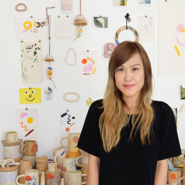 """Meet Carrie Lau, the ceramicist and artist behind @omceramic. Born and raised in Hong Kong, Carrie is now based in L.A., where she creates full time. """"I was introduced to ceramics by a good friend, and it quickly became a meditative hobby and a new outlet for my creative energy... I love the creative process the most. It allows me to connect with myself and share my thoughts with others."""" Link in bio for Carrie's story. #cuyanacraftswomen"""