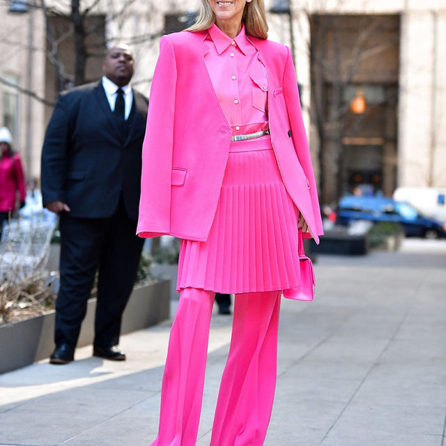 Back to business like #CelineDion in this perfect pink power suit.