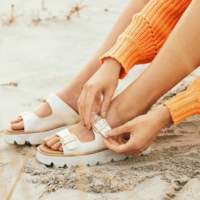 Strap in: It's almost long-walks-on-the-beach season. #ShoesdayTuesday (shop the shoes in bio)