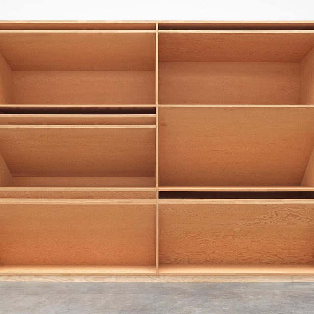 """#DonaldJudd: Join us for the opening of """"Artwork: 1980"""" at Gagosian, West 21st Street, New York, on Thursday, March 12, from 6 to 8pm.  The exhibition will present untitled, 1980, Donald Judd's largest single work in plywood. This will be the first time the piece has been exhibited in New York since it was originally shown at Castelli Gallery in 1981. The exhibition, presented in association with the Judd Foundation, coincides with a retrospective of Judd's work at the Museum of Modern Art, New York—his first major American museum survey since 1988.  Made from Douglas fir plywood, the work consists of a gridded construction in three parts, each section defined by horizontal and diagonal planes. The piece, measuring eighty feet in width, will be installed across the full length of the back wall of the gallery. Follow the link in our bio for more information on the exhibition.  __________ #Gagosian #JuddFoundation @juddfoundation @themuseumofmodernart (1) Donald Judd, untitled, 1980 (detail); (2) Donald Judd, u"""