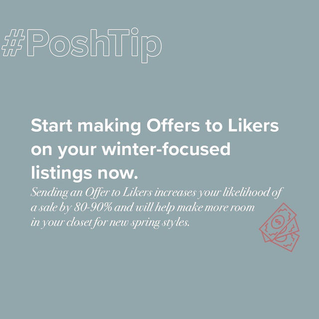 Now is the time to send those Offer to Likers! Tap our link in bio to learn more about how to move your merchandise. #PoshTip