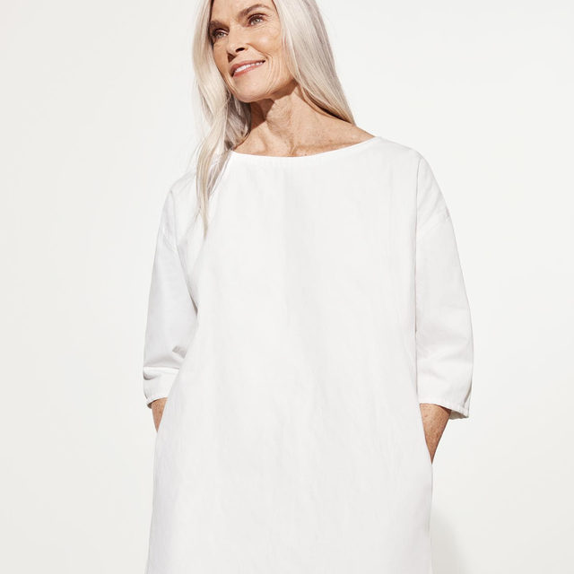 Ready for warmer weather in our Organic Cotton Steel Shift Dress - simple, yet set apart by a unique, rumpled texture that holds its shape.