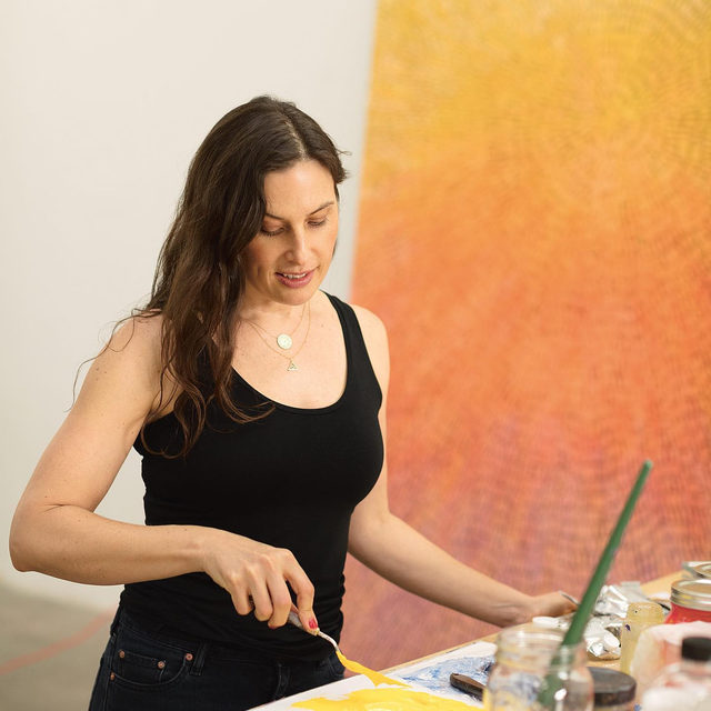 """#GagosianQuarterly: """"When I'm in front of one of these paintings I want to feel rooted, and to look up at it as if I were searching the night sky."""" —Jennifer Guidi  For the latest issue of """"Gagosian Quarterly,"""" Jennifer Guidi speaks with Laura Fried about her most recent paintings, the symbol of the serpent, and her evolving relationship to color. These new works are currently on view at Gagosian, West 24th Street, New York, through April 4. Inthe exhibition, """"Gemini,"""" Guidi explores dualities: light and darkness, abstraction and figuration, science and mysticism. Visit the link in our bio to read the interview online.  __________ #JenniferGuidi #Gagosian Jennifer Guidi in her Los Angeles studio, 2020. Photo: Brica Wilcox"""