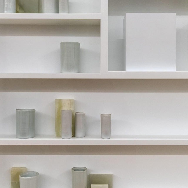 """#GagosianQuarterly: Watch Edmund de Waal speak about his two-part exhibition """"psalm,"""" presented in Venice last year, in a recent """"Gagosian Quarterly"""" video.  For the show, de Waal constructed a small library that houses two thousand books written by exiled authors from Ovid's time to the present day. The external walls of the """"library of exile"""" are inscribed with a new text piece listing the lost and erased libraries of the world. Inside, embedded in the bookshelves, is a quartet of de Waal's large-scale vitrines, containing porcelain vessels and page-like brackets of steel.  The """"library of exile"""" is now on view at the British Museum, London, through September 8. Follow the link in our bio to find out more.  __________ #EdmunddeWaal #BritishMuseum #Gagosian  #Repost: (1) @britishmuseum; (2) @edmunddewaal"""