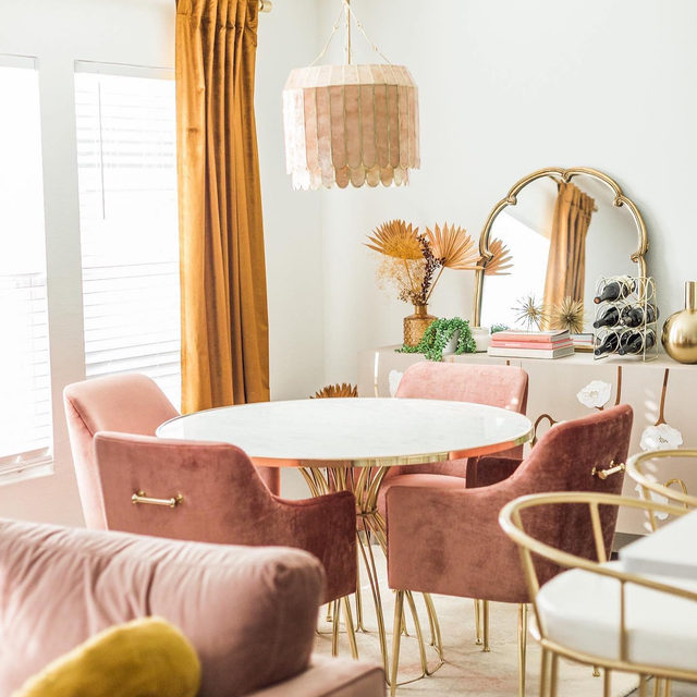 Pull up a chair...or four. Follow @anthroliving for more inspiration like this cozy, rosy dining room. #AnthroLiving Photo via @musingsofacurvylady