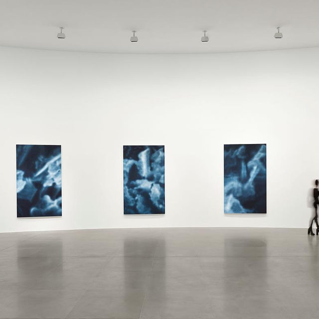 """#YZKami: Y.Z. Kami's """"Night Paintings"""" are composed largely from a single shade of indigo—said to be the color of the night—mixed with various gradations of white. Each canvas in this new series is filled with blue-whitish apparitions that float just past the limits of materiality and concrete representation. These works were presented for the first time at Gagosian, Rome, this year.  With all our galleries temporarily closed, look forward to more images, videos, and editorial to stay connected to our exhibitions online. Stay tuned! __________ #Gagosian Installation views, """"Y.Z. Kami: Night Paintings,"""" January 18–March 21, 2020, Gagosian, Rome. Artwork © Y.Z. Kami"""