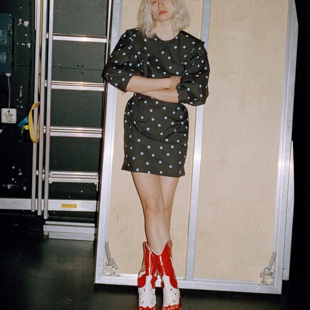 Cosmic world 🏹🏹🏹 Exclusive collection Dot printed collar mini dress High Texas Boots #GANNIGirls #GANNI