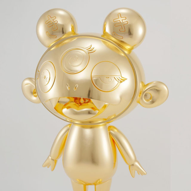 """#GagosianOnline: Takashi Murakami's """"Kiki"""" is one of two large sculptures by the artist featured in our Art Basel Hong Kong Online presentation, now accessible at gagosian.com/fairs.  Created between 2018 and 2020, both the three-eyed, smiling """"Kiki"""" and rabbitlike """"Kaikai"""" are made from fiberglass-reinforced plastic covered in gold leaf. These cute yet imposing characters illustrate Murakami's interest in paradox, as """"kikikaikai"""" describes something that is dangerous yet appealing.  View all the artworks presented in Art Basel Hong Kong Online via the link in our bio. To receive a PDF with detailed information, please contact the gallery at inquire@gagosian.com or via DM. __________ #TakashiMurakami #Gagosian #ArtBaselOVR @artbasel @takashipom Takashi Murakami, """"Kiki,"""" 2018–20 © 2020 Takashi Murakami/Kaikai Kiki Co., Ltd. All rights reserved"""