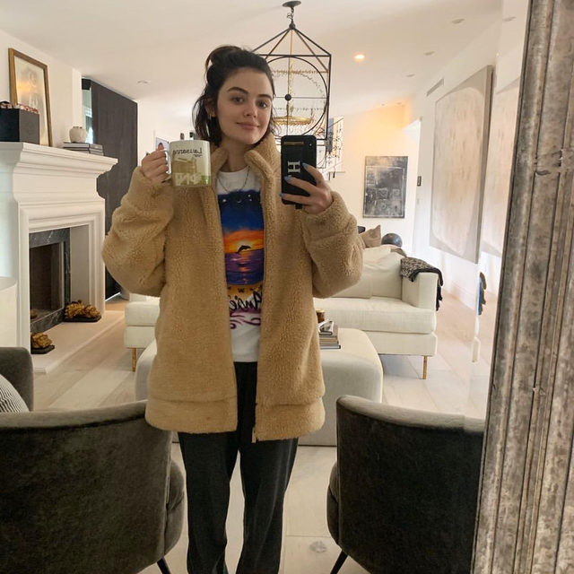 """We DMd our fave celebs and asked them to send us a selfie of their """"staying in"""" outfits—and they actually did. ‼️ Tap the link in bio for more extremely relatable cozy looks. photos: @lucyhale, @hilaryduff, @traceeellisross, @melton, @lilireinhart"""