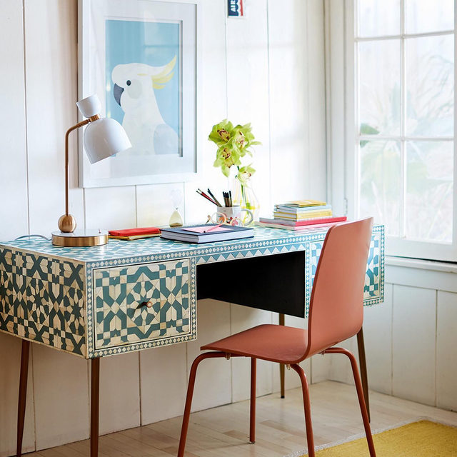 "WFH, but make it chic. Show us your new desk setup (makeshift ""desks"" encouraged!) with #MyAnthropologie"