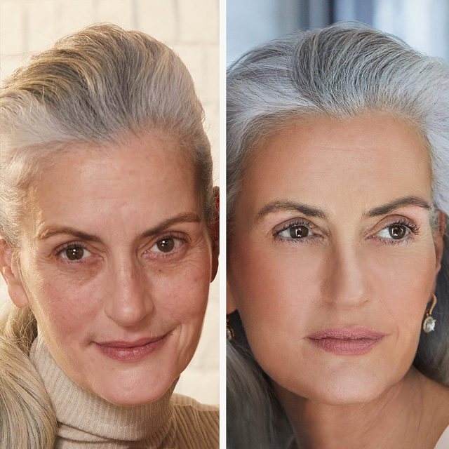 How gorgeous is this before & after look featuring our Bronze-n-Brighten? ✨😍 Women of all ages can get a natural glow without any trace of orange.  Shop today on laurageller.com. . . . #lauragellerbeauty #laurageller #bronzenbrighten #bronzer #theauthorityinbaked #bakedmakeup #beforeandafter #beautyisageless.