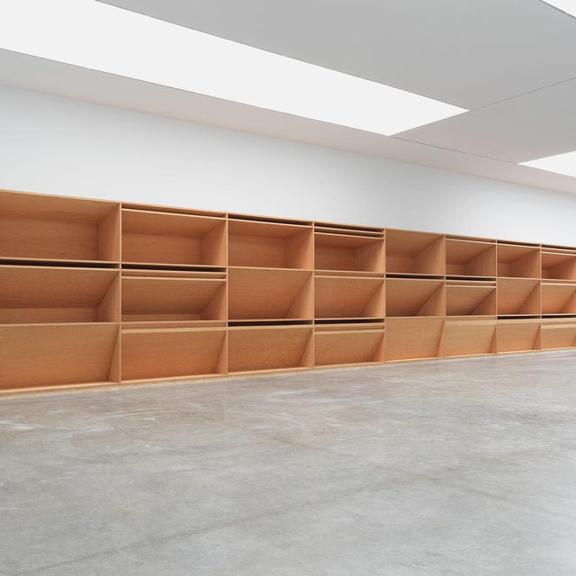 """#DonaldJudd: """"Space is made by an artist or architect; it is not found and packaged. It is made by thought."""" —Donald Judd  Measuring eighty feet in width, untitled, 1980, is Donald Judd's largest single work in plywood. Made from Douglas fir, the work consists of a gridded construction in three parts, each section defined by horizontal and diagonal planes. In its fusion of wall- and floor-based formats, the work confirms Judd's mastery of light and space. It manifests his desire to realize """"the simple expression of complex thought,"""" an idea he considered independent of the Minimalist label to which his work was—to his displeasure—often linked.  This work went on view at Gagosian, West 21st Street, New York, earlier this month. This was the first time the piece had been exhibited in New York since it was originally shown at Castelli Gallery in 1981. Learn more via the link in our bio.  __________ #Gagosian #JuddFoundation @juddfoundation  Donald Judd, untitled, 1980 © 2020 Judd Foundation/Artists Rights Societ"""