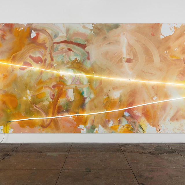 """#GagosianOnline: Mary Weatherford's 2019 work """"Splendor in the Grass"""" is featured in our Art Basel Hong Kong Online presentation, which closes soon.  Weatherford makes large paintings comprising grounds of spontaneously sponged paint on heavy linen canvases, often surmounted by one or more carefully shaped and placed colored neon tubes. These works expand the expressive potential of neon. Though appropriated by earlier artists for its consumerist and linguistic connotations, in works such as """"Splendor in the Grass"""" the industrial material is transformed into a radically new form of abstract, pictorial drawing.  View our Art Basel Hong Kong Online presentation via the link in our bio. To receive a PDF with detailed information, please contact the gallery at inquire@gagosian.com or via DM. __________ #MaryWeatherford #Gagosian #ArtBaselOVR @artbasel Mary Weatherford, """"Splendor in the Grass,"""" 2019 © Mary Weatherford"""