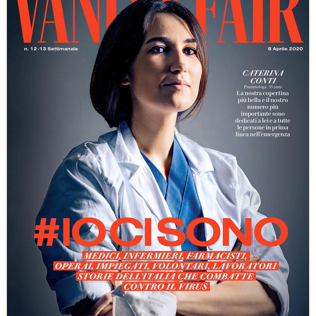 """#IOCISONO is the new issue of @VanityFairItalia dedicated to those on the front line against coronavirus. Having published a special number dedicated to Milan and Italy, Vanity Fair continues its efforts to transmit a message of hope, strength, courage and, above all, gratitude to those who are fighting this global war against the Covid-19 virus on the Italian front line. """"But don't call these doctors, nurses, essential workers and volunteers heroes, because they themselves do not wish to be defined as such. They are professionals with an extraordinary sense of duty; workers at the very limits of their strength and possibilities. For us, they have become the reflection of an Italy which is strong and full of hope, a country that has always managed to survive the hardest of times. Their stories and their work - told in this issue of Vanity Fair - become a human account that will stay with us forever, not only during this emergency"""", says Editor-in-Chief @MarchettiSimone. This new issue is on newsstands for two"""
