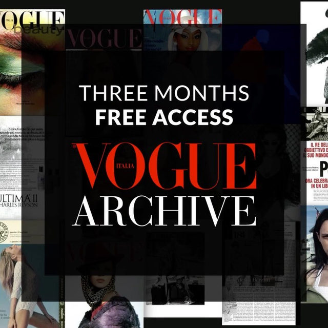 Vogue Italia Archive is the digitized archive of Vogue Italia and includes every issue scanned from 1964 to the present. Every page is reproduced in high-resolution color, with rich indexing enabling images to be searched by garment type, designer, brand names and much more viewable in beautiful high-resolution color. Register to archivio.vogue.it/en and enter the promo code VARCHIVE4YOU for a free full archive subscription until June the 13th! #voguearchive #VARCHIVE4YOU