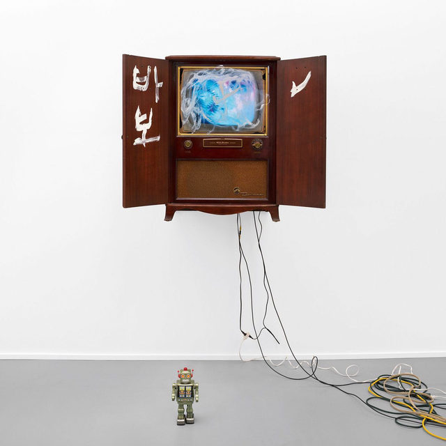 """#GagosianQuarterly: """"Our life is half natural and half technological. Half-and-half is good."""" —Nam June Paik  More than ever before, we are relying on technology to stay connected to the people in our lives. In an article for """"Gagosian Quarterly,"""" Alexander Wolf explores the intersection of life and technology as it exists in the work of Nam June Paik, revealing the artist's ability to balance technological concerns with humanity through music, performance, expressive painting, and images from nature. Read the piece via the link in our bio. __________ #NamJunePaik #Gagosian  Nam June Paik, """"Untitled"""" [Console RCA Victor Deluxe], 1996 © Nam June Paik Estate"""