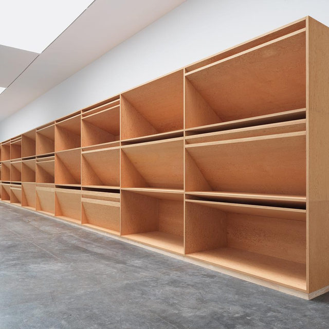 """#DonaldJudd: """"Stretching in total 80 feet across and 12 feet up the longest wall at Gagosian, the result is arguably the most communicative, extravagantly available work of Judd's career: a great flutter of planes, columns and edges—the cardinal components of Judd's language—and shifts in light and shadow."""" —Roberta Smith, New York Times  The exhibition """"Artwork: 1980"""" at Gagosian, West 21st Street, New York, has been extended through July 11. Follow the link in our bio to read more.  __________ #Gagosian #JuddFoundation @juddfoundation @robertasmithnyt @nytimes  Donald Judd, untitled, 1980 © 2020 Judd Foundation/Artists Rights Society (ARS), New York. Photos: Rob McKeever"""
