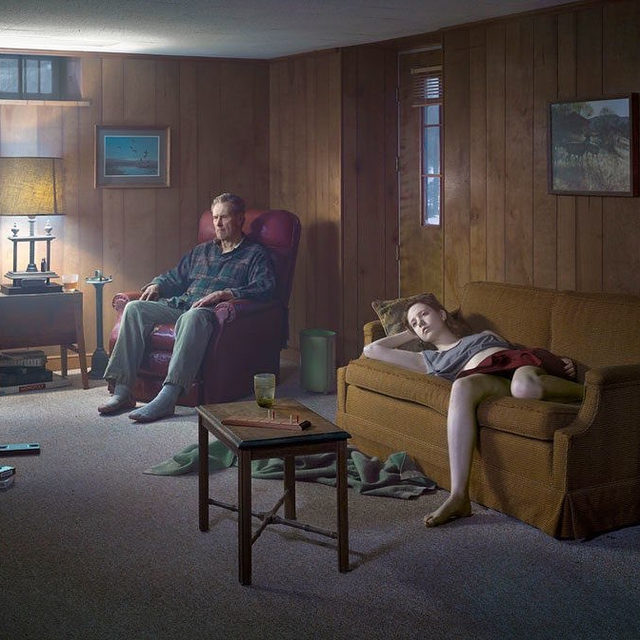 """#StayHome: Gregory Crewdson's """"Cathedral of the Pines"""" series was made during three productions in and around the rural town of Becket, Massachusetts. Crewdson photographed figures in the surrounding forests and interior scenes charged with ambiguous narratives that probe tensions between art and life, connection and separation, intimacy and isolation.  Head to """"Gagosian Quarterly"""" to watch a video interview with Crewdson about the series, which he describes as his most intimate and personal body of work. Follow the link in our bio. __________ #GregoryCrewdson #GagosianQuarterly #Gagosian @crewdsonstudio Gregory Crewdson,""""The Basement,"""" 2014 © Gregory Crewdson"""