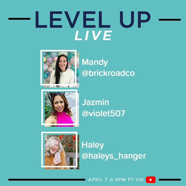 Join us TONIGHT for our brand new YouTube livestream series: Level Up Live! 🙌  We'll be chatting with @brickroadco, @violet507, and @haleys_hanger to talk all about ways they're sourcing, replenishing inventory and leveling up their businesses during this time. Block off your calendar for 6pm PT, we'll see you there! Tap our link to tune in!