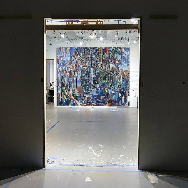 """#GagosianSpotlight   #SarahSze: """"These paintings are very portal-like. I see them as portals into space, into architecture, into the mind."""" —Sarah Sze  Above is the painting """"Ripple"""" in Sarah Sze's studio. Sze positioned the painting so it is viewed through a portal—from a dark room into light—as she had planned to do in the gallery at Gagosian, Paris. ________ #TajMahal #MumtazMahal #Agra #India #Gagosian #GagosianArtistEye #ArtistTakeover (1, 3) Sarah Sze, """"Ripple (Times Zero),"""" 2020 © Sarah Sze; (2) Taj Mahal, Agra, India; audio: Sze Studio"""