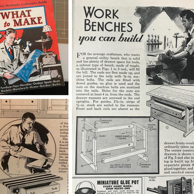 """Popular Mechanics """"What to Make"""" craftsman's guide. 1935. Now, 85 years later our model to build a workbench hasn't changed much. Smart design. Solid construction. 🔗 Tap the link in our bio to build your own. #DIY #throwback #Popback"""