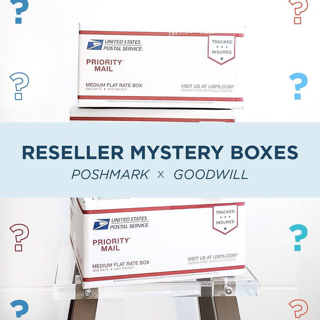 🌟RESELLER MYSTERY BOXES ARE HERE🌟 We know sourcing inventory is a unique challenge right now, so we're partnering with @sfgoodwill to provide our community with access to affordable inventory! Starting today, Goodwill of San Francisco will offer Reseller Mystery Boxes via the Wholesale Market. Tap our link in bio to learn how to score a box. #PoshmarkxGoodwill⠀ ⠀ 📲 As an added bonus we're giving away 10 Reseller Mystery Boxes to our Instagram followers! ⠀ ⠀ Entering is as easy as 1, 2, 3…⠀ 1. Like this post and tag a PFF (Each person tagged is an additional entry)⠀ 2. Follow both @poshmark & @sfgoodwill on Instagram.⠀ 3. Boom! That's it. 10 winners will each win one Reseller Mystery Box!⠀ ⠀ <<Giveaway is live from 4/23 - 4/26 11:59pm PT, winners selected at random, U.S. entrants only, mystery box prize inventory varies across offered categories, see Official Rules: https://bit.ly/2xJBzlx, 📷: @elizabethheart_shop >>