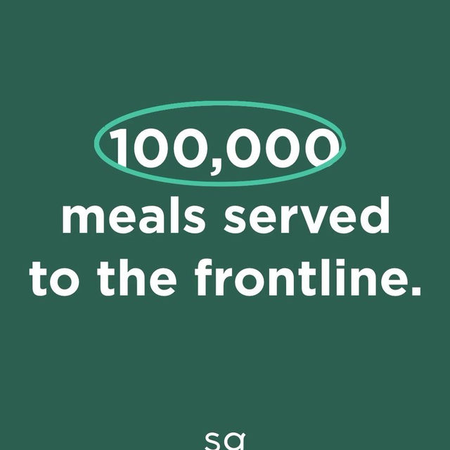 Two weeks ago, we launched the sweetgreen Impact Outpost Fund. With your help, we've reached our goal of donating 100,000 meals to more than 130 hospitals — and we couldn't be more grateful for your support.  To continue providing real food for those who need it, we're committing to a new goal of serving 250,000 meals to hospitals around the country. If you'd like to keep supporting these tireless healthcare heroes, donations are still open at the link in bio. From all of us at sweetgreen and the medical personnel on the front lines, thank you for making an impact.