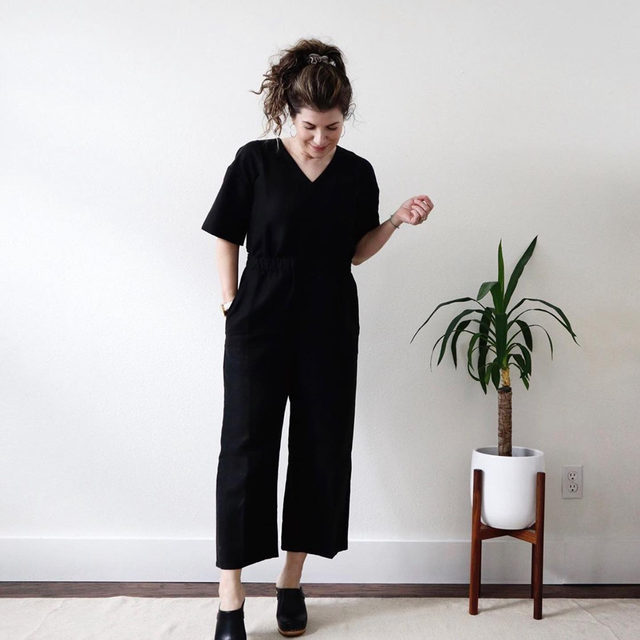 @uncomplicatedspaces in our Tencel & Organic Linen Slub Jumpsuit showing us, as always, less really is more.