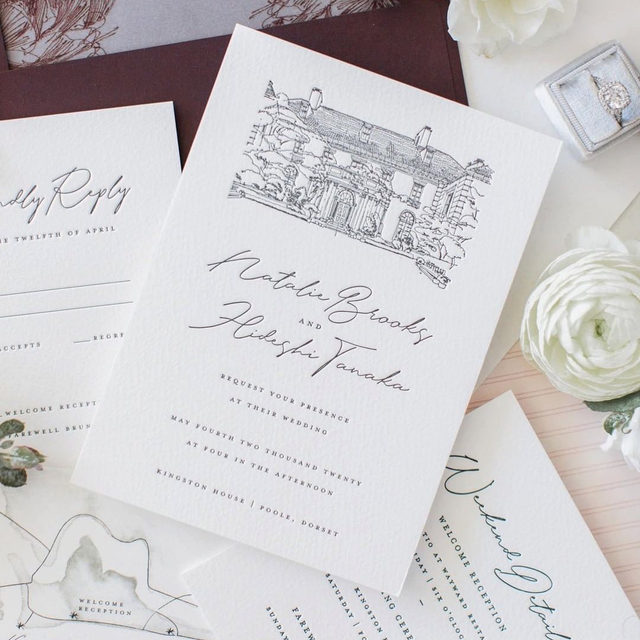 """""""I couldn't believe it when I got this invitation in the mail...the custom illustrations included are just so pretty! Styling this set was so fun!"""" - #MintedWeddingPlanner @thewhitefiore  __ . . . #weddinginvite #weddingstationery #wedding #weddinginspo #weddingphotography #weddingstationeryideas #weddingflatlay #flatlay #engaged #weddingideas #weddinginspiration #weddingdetails #engaged #invitations #weddingplanning #savethedate #mintedweddings"""