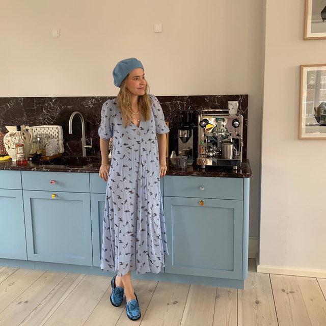 Our creative director @ditte_reffstrup at home in our printed georgette puff sleeve dress 🛋🛋🛋 #GANNIGirls #GANNIWFH