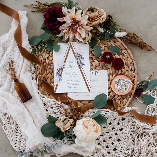 """Seeing it all come together, from your wedding invitations to the place where it will become """"officially official"""". 💕 #MintedWeddings __ """"triangle arch"""" foil-pressed wedding invitation by @cass.loh  Photo: @lifelongphotographystudio via @confettieventstampa   Altar: @divinelyrustic   Venue: @clspacetampa . . . #engaged #weddingideas #weddinginspiration #weddingdetails #weddingphotography #weddingplanning #weddingflatlay #justengaged #thatsdarling #pursuepretty #theknot #sayido #howtheyasked #marthaweddings #weddingseason #engagementseason #weddingplanner #weddinginvites #savethedate #couplegoals"""